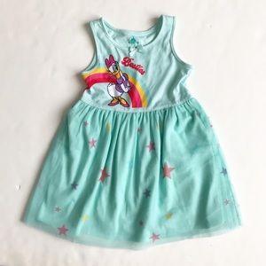Disney green Daisy Duck rainbow dress EUC 4T